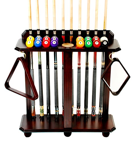 Cue Rack Only- 10 Pool - Billiard Stick & Ball Set Floor - Stand Choose Mahogany, Black or Oak Finish