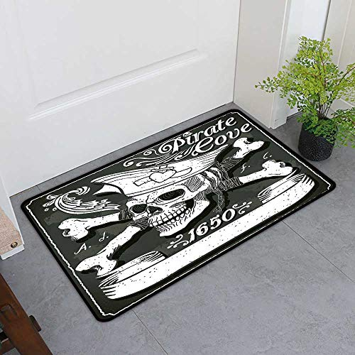 (Custom&blanket Absorbs Mud Doormat, Pirate Decorative Rugs for Kitchen, Pirate Cove Flag Year of 1650 Vintage Frame Crossbones Floral Swirls Hat Heart (Black White Grey, H20 x W32))
