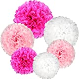 Coceca 21Pcs Tissue Paper Pom Poms Pink Paper Pom Poms 14 Inch, 12 Inch, 10 Inch, 8 Inch Pink Set Flower Ball for Birthday Wedding Party Outdoor Baby Shower Decoration