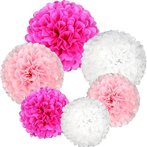 Nearby Party Supplies - Coceca 21Pcs Tissue Paper Pom Poms Pink Paper Pom Poms 14 Inch, 12 Inch, 10 Inch, 8 Inch Pink Set Flower Ball for Birthday Wedding Party Outdoor Baby Shower Decoration