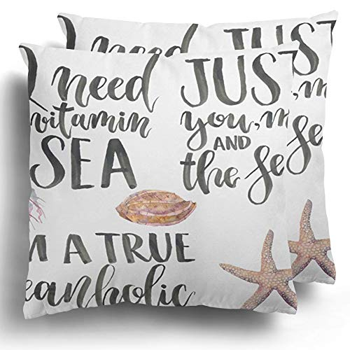 Throw Pillow Covers Pack of 2 Lettering Hand Ocean Phrase I Need Vitamin Sea Just You Me and The M True Oceanholic Watercolor Fish Polyester Cushion Case Home Couch Winter Decoration 20 x 20 Inches (Sea Me The Cushion You And)