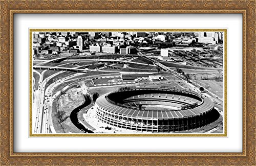 Stadium Fulton Atlanta (Atlanta–Fulton County Stadium 2x Matted 40x26 Large Gold Ornate Framed Art Print from the Stadium Series)
