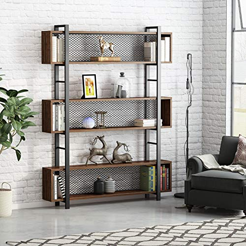 Tribesigns 5-Shelf Bookshelf with Metal Wire, Vintage Industrial Bookcase Display Shelf Storage Organizer with Metal Frame for Home Office, 47.2'' L x 9.4'' D x 71'' H (Retro Brown) by Tribesigns (Image #2)