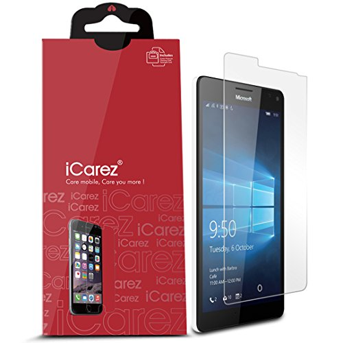 iCarez [HD Clear] Screen Protector for Microsoft Lumia 950 XL [Unique Hinge Install Method With Kits] 3-PacK Easy Install with Lifetime Replacement Warranty