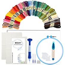Magic Embroidery Pen Punch Needle (Upgraded), BESKAY Embroidery Punch Needle Kit Including Embroidery Pen, Embroidery Hoop, 50 Color Threads, Natural Linen Embroidery Fabric and Embroidery Stabilizer