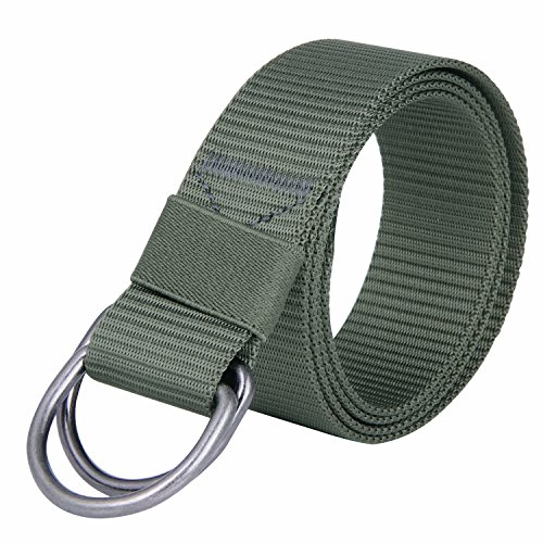 JINIU Military Tactical Belt Long Double D Ring Big Mens Canvas Fabric Cloth Nylon Belts Green (JNSG28)