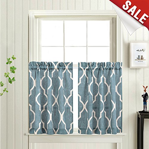 en Tiers 24 inch Length Moroccan Tile Printed Cafe Curtains Lattice Geometry Privacy Half Window Curtains for Bathroom (1 Pair, Blue) ()