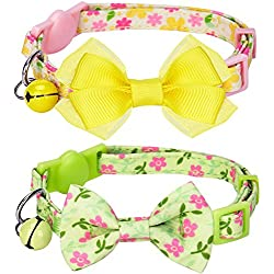 "Blueberry Pet Pack of 2 Cat Collars, Florida Dream Spring Floral Print Adjustable Breakaway Cat Collar with Bow Tie & Bell , Neck 9""-13"""