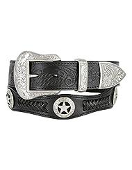 Mens Western Ranger Star Badge Concho Braided Genuine Leather Cowboy Belt (32, Black)