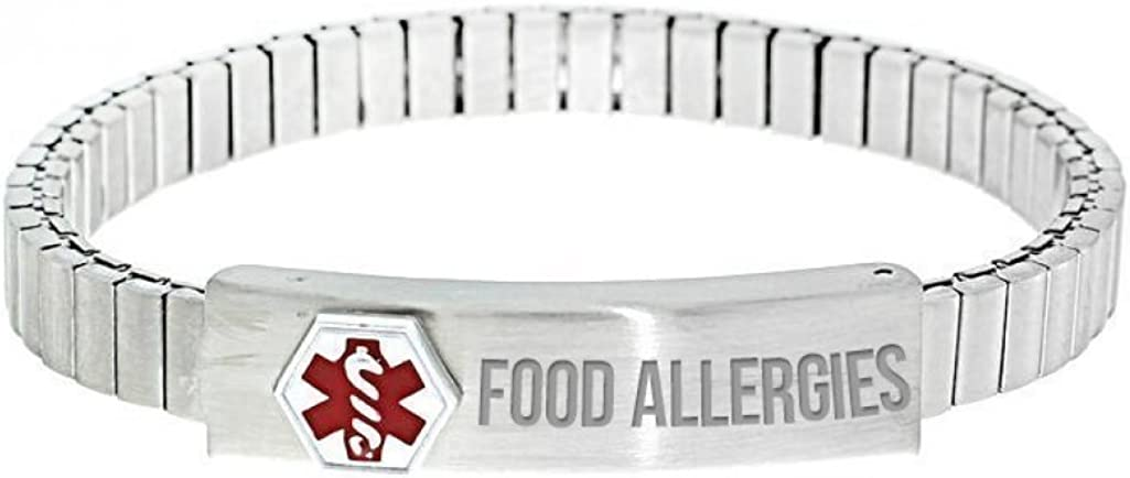 PicturesOnGold.com Stainless Steel Ladies Food Allergies Expansion Bracelet - Stainless Steel Expansion Bracelet