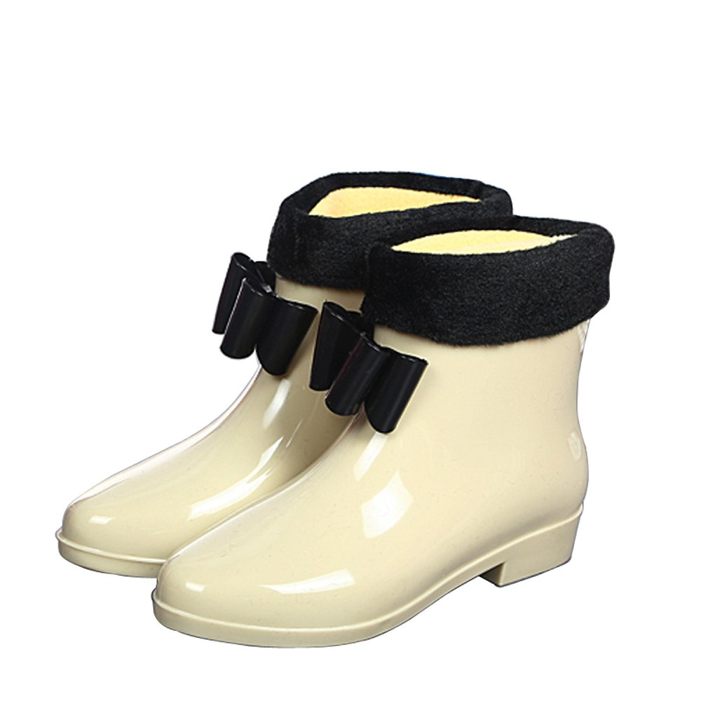 Retro Boots, Granny Boots, 70s Boots Magone Womens Bow Knot Rain Boots PVC Boots Fashion Rain Shoes $12.00 AT vintagedancer.com