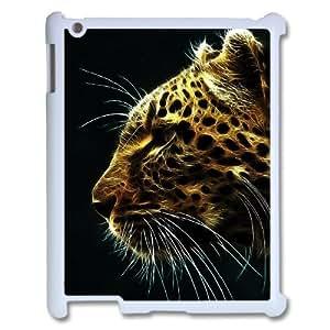 3D Cheetah Series, IPad 2,3,4 2D Case, Cheetah In Fire Case For IPad 2,3,4 2D [White]