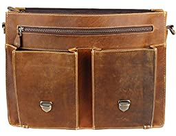 RusticTown Leather Vintage Crossbody Messenger Courier Bag Gift Men Women Business Work Briefcase ~ Carry Laptop Computer Books ~ Handmade Rugged Distressed ~ Everyday Office College School 16 Inch