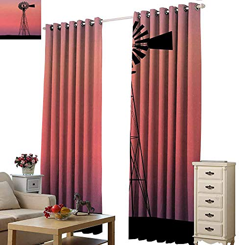 Homrkey Heat Insulation Curtain Windmill Windmill Silhouette at Dreamlike Sunset Western Ranch Agriculture Theme Blackout Draperies for Bedroom Living Room W84 xL72 Coral Lilac and Black