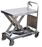 Stainless Portable Lift - BCART-PSS Series; Platform Size (W x L): 17-1/2'' x 27-1/2''; Capacity (LBS): 400; Service Range: 8-3/4'' to 29''; Foot Pump Speed: One