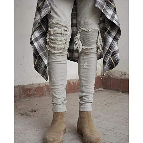 Attillati Grigio 37 Jeans Uomo 3 Pantaloni 1 Da Eu E Yzibei Grigio Casual Strappati Dimensione Caldi Dritti colore UqAxnT