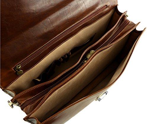 Leder Business Taschen - 4007 Honig - Echtes Leder Tasche - Mega Tuscany