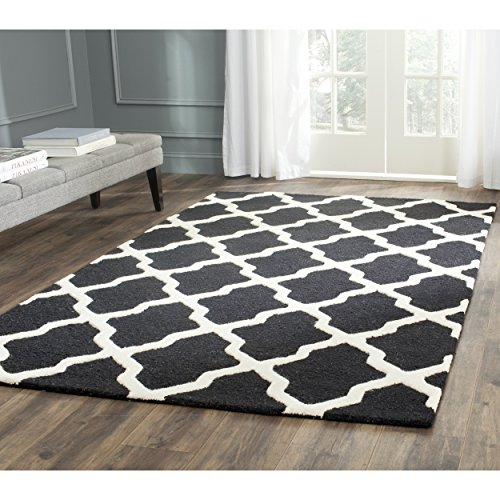 Safavieh Cambridge Collection CAM121E Handcrafted Moroccan Geometric Black and Ivory Premium Wool Area Rug (9' x 12') (Black Ivory Rectangle Rug)