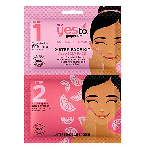 Yes To Grapefruit Brightening Face Scrub & Face Peel 2-Step Kit - Vitamin C Glow-Boosting Daily Facial Scrub & Brightening Peel 2-Step Face Kit - 2 Count 0.33 ounce each