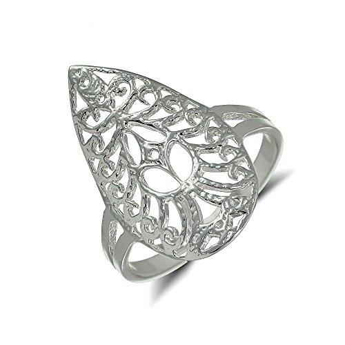 Sterling Silver Filigree Lace Pattern Teardrop Ring, Size (Sterling Silver Lace Filigree)