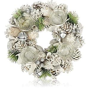 com-four® Ghirlanda da Tavolo per Natale - Ghirlanda dell'avvento Bianca con Glitter - Ghirlanda Decorativa con 4 portacandele - Decorazione Natalizia - Ghirlanda Natalizia - Ø 32 cm 4 spesavip