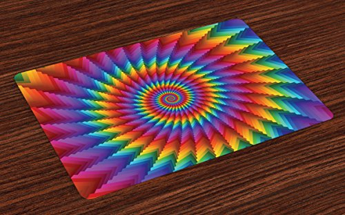 Ambesonne Trippy Place Mats Set of 4, Psychedelic Rainbow Spiral in Vibrant Colors Circular Rainbow of Optical Illusion, Washable Fabric Placemats for Dining Room Kitchen Table Decor, Multicolor