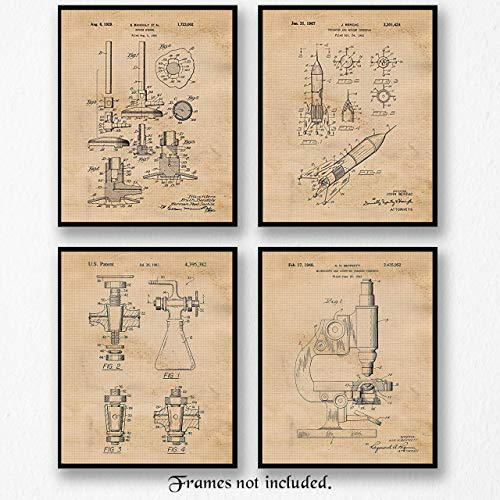 Science Lab Chemistry Patent Art - Poster Prints - Set of 4 (Four) Photos - 8x10 Unframed - Great Wall Art Decor Gifts for Scientists, Chemists, Teachers, Inventors, School, Office.