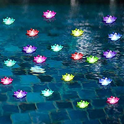 LACGO Battery-Operated Mixed Colors Waterproof Floating LED Lotus Light, Color-Changing Lily Flower Light, Flower Night Lamp, Pool Garden Fish Tank Wedding Decor(Pack of 6)+(2 Big Size Leaves 11'') : Garden & Outdoor