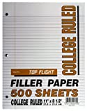 Top Flight Filler Paper, 11 x 8.5 Inches, College Rule, 500 Sheets (12430)