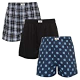 Lucky Brand Mens 3 Pack Woven Boxers Moonless Night Plaid/Moonless Night/Dark Denim Large