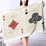 PRUNUS Personalized Bath Towel Ace of Diamonds Clubs Poker Cards Game Grunge Gambling Fortune Illustration Cream Red Moisture Wicking