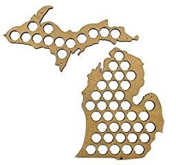 Michigan Beer Cap Map - 19x18 inches - 37 caps - Beer Cap Holder Michigan - Cork Tree