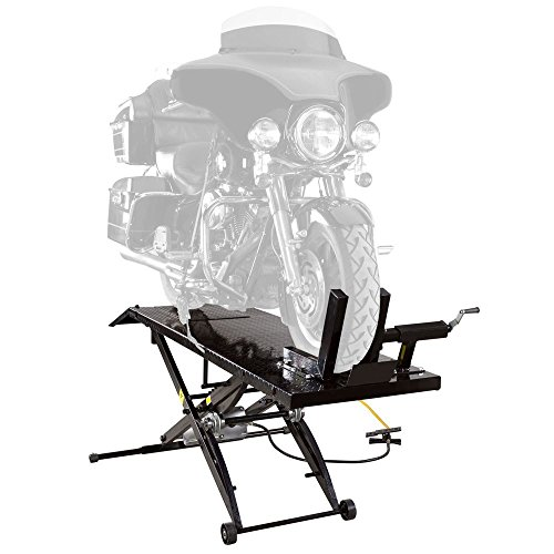 Pneumatic Motorcycle Lift (Rage Powersports Air Operated Motorcycle Lift Table with Wheel Chock & Drop Panel)