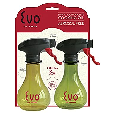 Evo Kitchen and Grill Olive Oil and Cooking Oil Trigger Sprayer Bottle, Refillable, Non-Aerosol, 8-Ounce Capacity, Set of 2