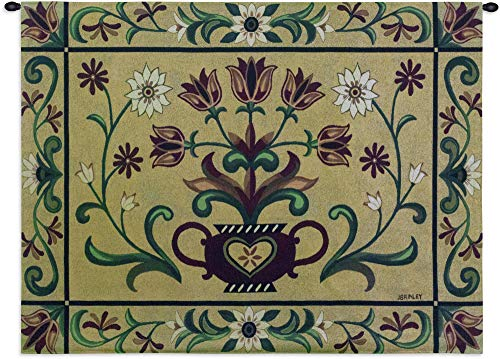 Heritage Floral | Woven Tapestry Wall Art Hanging | Vintage Germanic Ornamental Floral Vase Pattern | 100% Cotton USA Size 53x40 ()