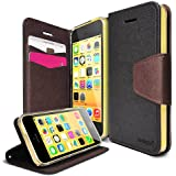 iPhone 5C Case - Ringke DELIGHT Case [Free HD Film][BLACK] Premium PU Saffiano Leather Standing View Diary Case Flip Cover for Apple iPhone 5C - Eco Package