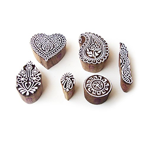 Heart and Paisley Hand Made Designs Wooden Block Stamps (Set of 6) - Paisley Hearts