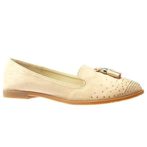 Angkorly - Zapatillas Moda Mocasines Slip-on Mujer Fleco Pompom Strass Tacón Ancho 1.5 CM - Rosa HL10 T 41: Amazon.es: Zapatos y complementos