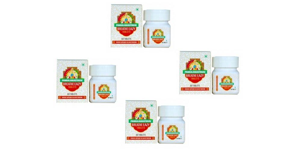 Pack of 4 - Pankajakasthuri Breathe Eazy Tablets - 60 Tablets