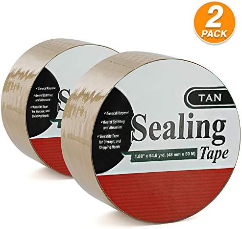 1.88 X 54.6 Yards Heavy Duty Packaging Tape Tan Packing Versatile Tape Great for Moving Boxes Shipping Office Storage & General Purpose (Pack of 2) - by Emraw