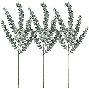 "Supla 3 Pcs Faux Eucalyptus Leaves Spray Artificial Eucalyptus Branches Plants Artificial Greenery Stems 35"" Tall in Grey Green for Greenery Wedding Party Floral Arrangement 60"