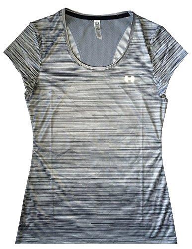 Under Armour Women HeatGear® Flyweight Printed T-Shirt (S, Multi grey stripe)