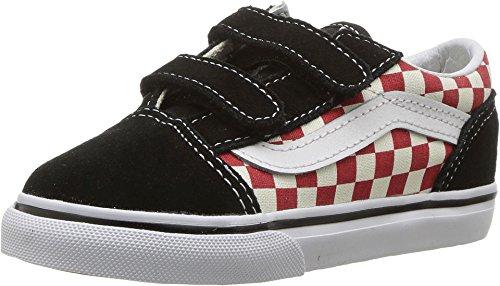 Vans Toddlers Old Skool (Checkerboard) Checkerboard/Black/Red Skate Shoe 6 Infants US (Red Vans Infant)
