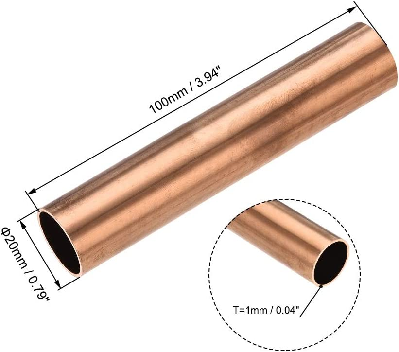 Size : 20mm x 1mm x 100mm Used For Cooling Water Heating Tool Generator Copper Tube-cable Switch Equipment-DIY BTCS-X 1PCS Copper Round Tube 20mm X 1mm X 100mm Hollow Straight Tube