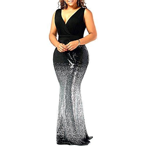 Langstar Women Casual Plus Size Sleeveless Sequins Party Fishtail Maxi Dress 8216b29ff