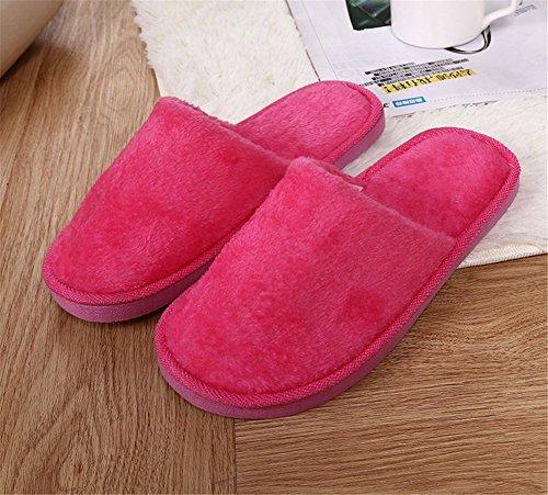 Remeehi - Zapatillas de estar por casa de Terciopelo para hombre rosa roja