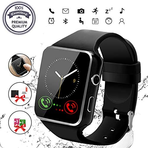 Smart Watch, Bluetooth Smartwatch Touch Screen Wrist Watch with Camera SIM Card Slot,Waterproof Smart Watch Sports Fitness Tracker Android Phone Watch Compatible with Android Phones Samsung Huawei