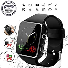 Smart Watch, Bluetooth Smartwatch Touch Screen Wrist Watch with Camera/SIM Card Slot,Waterproof Smart Watch Sports…