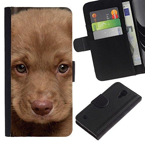 EuroCase - Samsung Galaxy S4 IV I9500 - puppy muzzle portrait light brown dog - Cuero PU Delgado caso cubierta Shell Armor Funda Case Cover