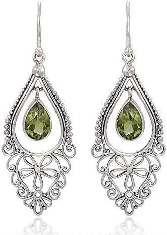 925 Sterling Silver Bali Filigree Chandelier Design w/ Green Peridot Dangle Earrings